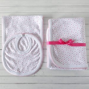 Manta, Babero y Babita Lunares Rosas